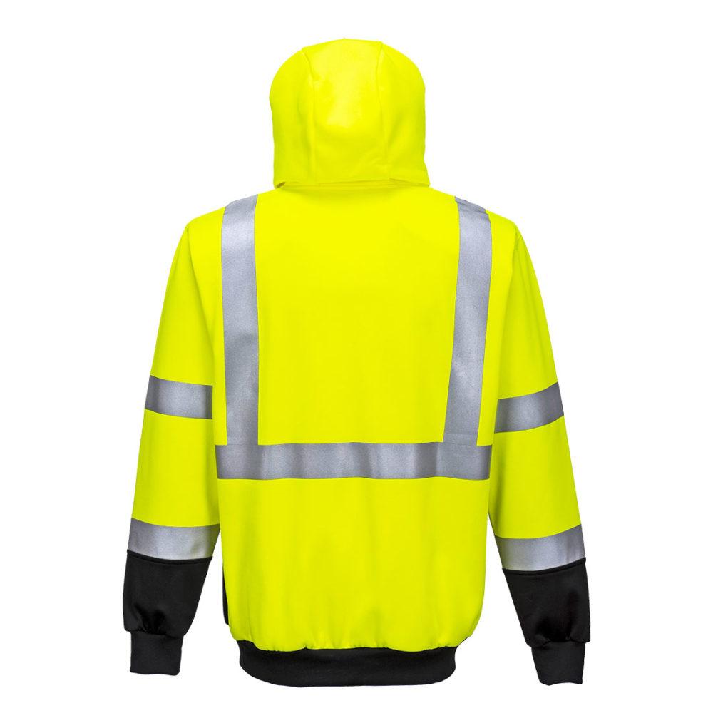Sudadera de alta visibilidad bicolor, con capucha y cremallera  Amarillo/Negro