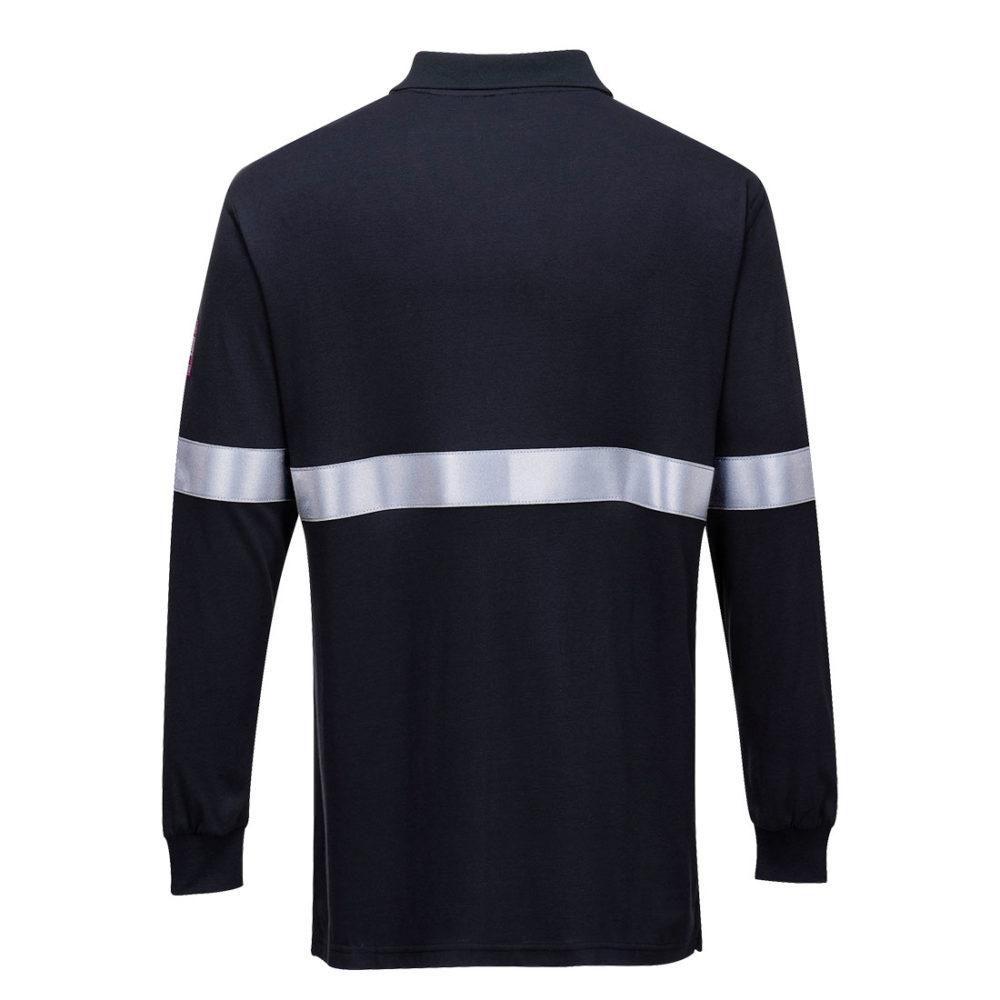 Polo de manga larga, resistente a la llama y antiestático, con cinta reflectante  Azul marino