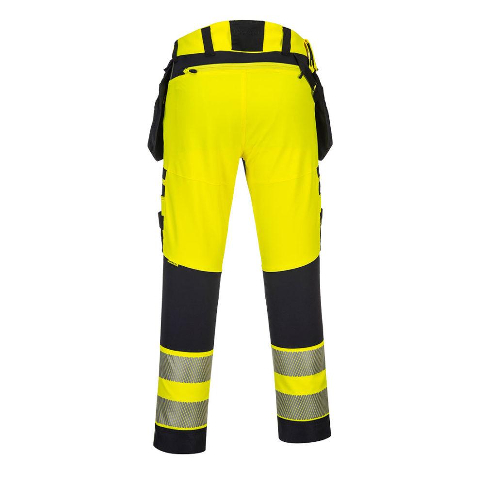 Pantalón DX4 de alta visibilidad con bolsillos de pistolera desmontables  Amarillo/Negro