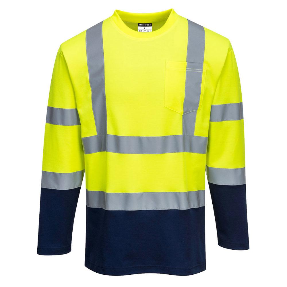 Camiseta Bicolor Alta Visibilidad Cotton Comfort Manga Larga
