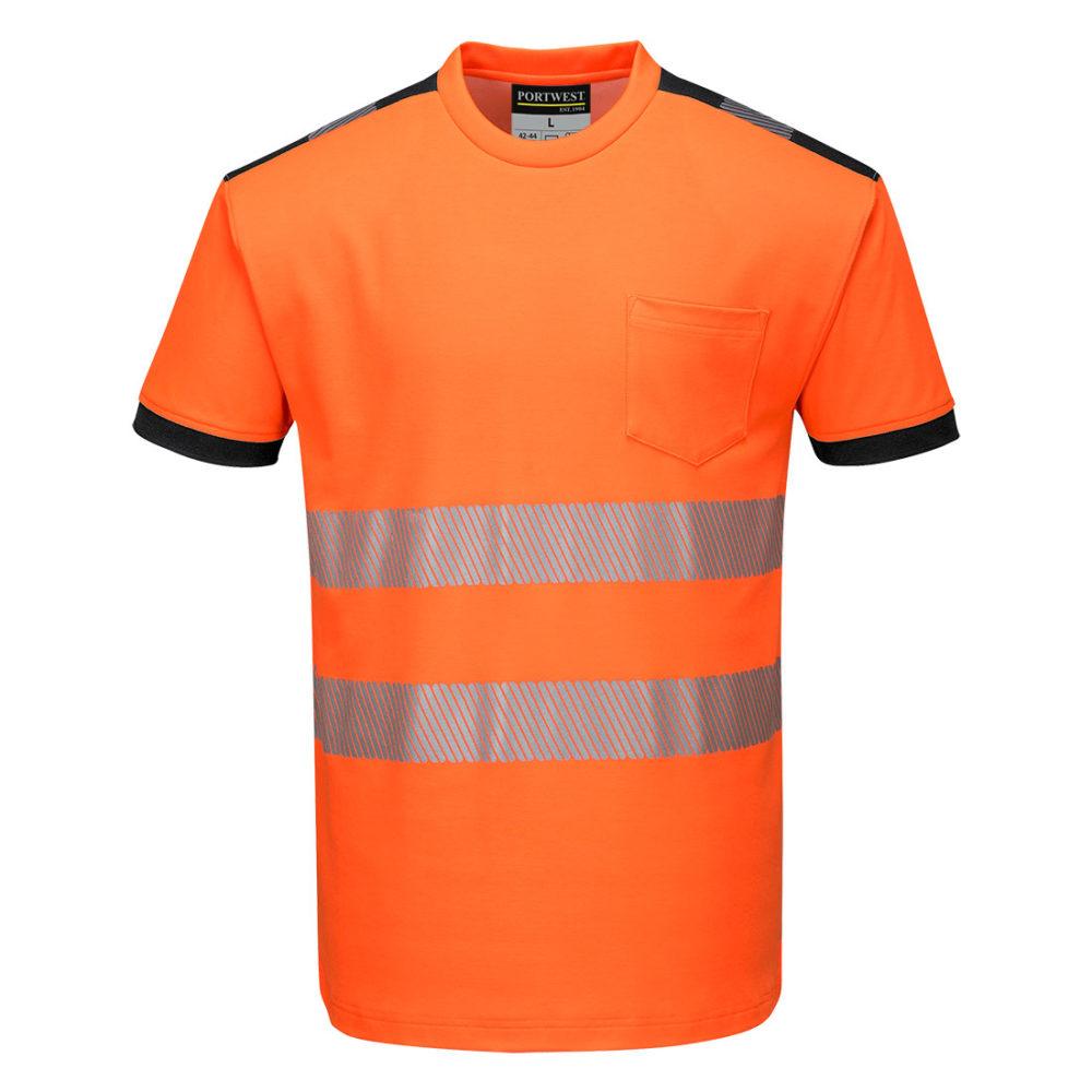 Camiseta m/c de alta visibilidad PW3  Amarillo/Marino