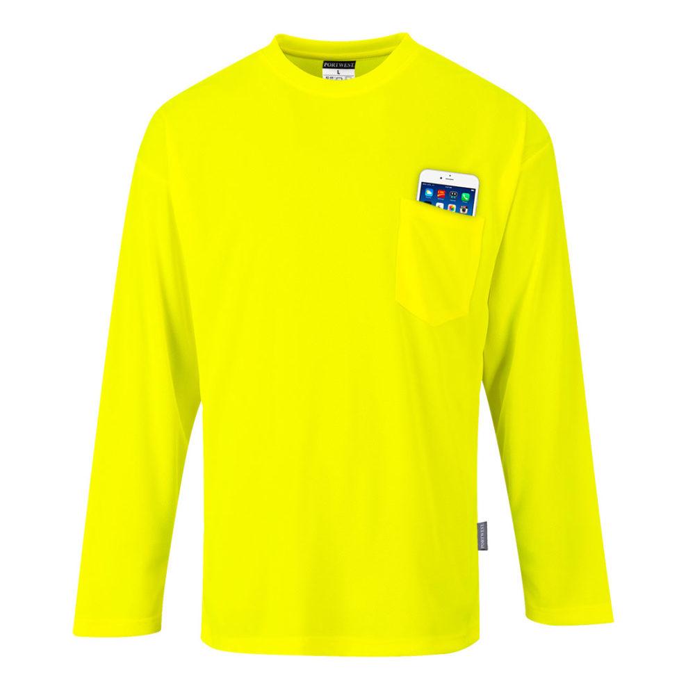 S579 – Camiseta Day-Vis de manga larga con bolsillo