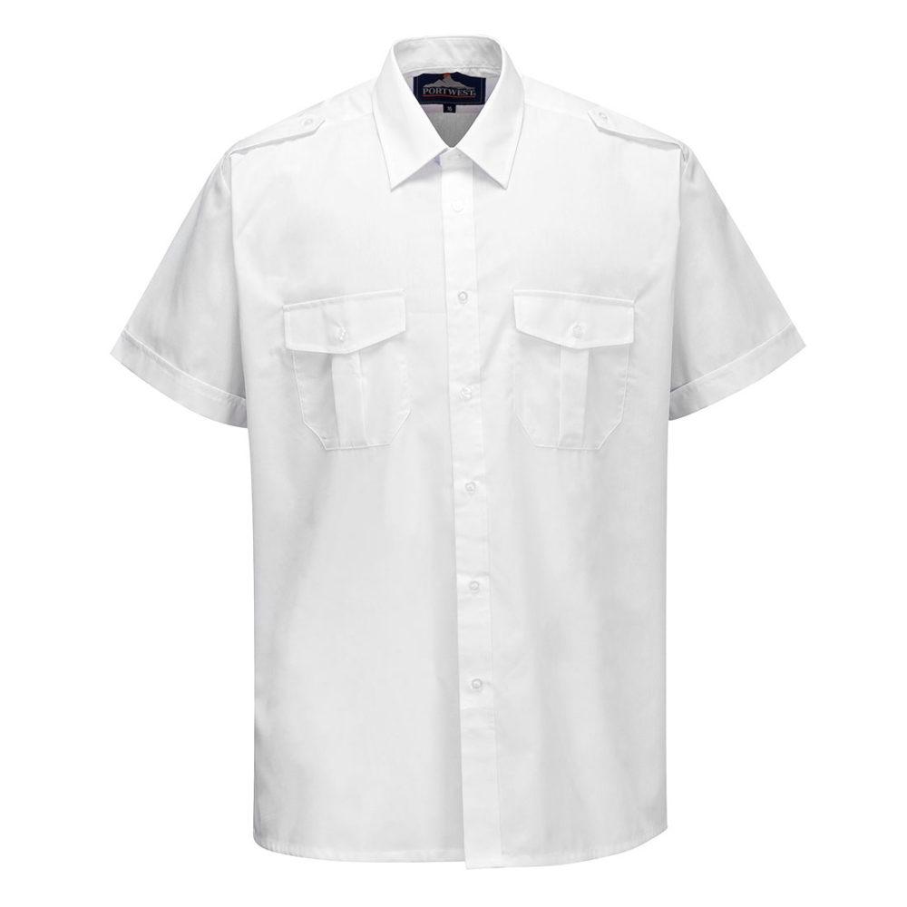 S101 – S101 Camisa Pilot, manga corta  Blanco