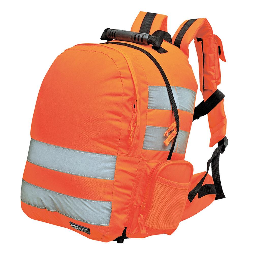 B904 – Mochila de alta visibilidad, con zafado rápido  Naranja