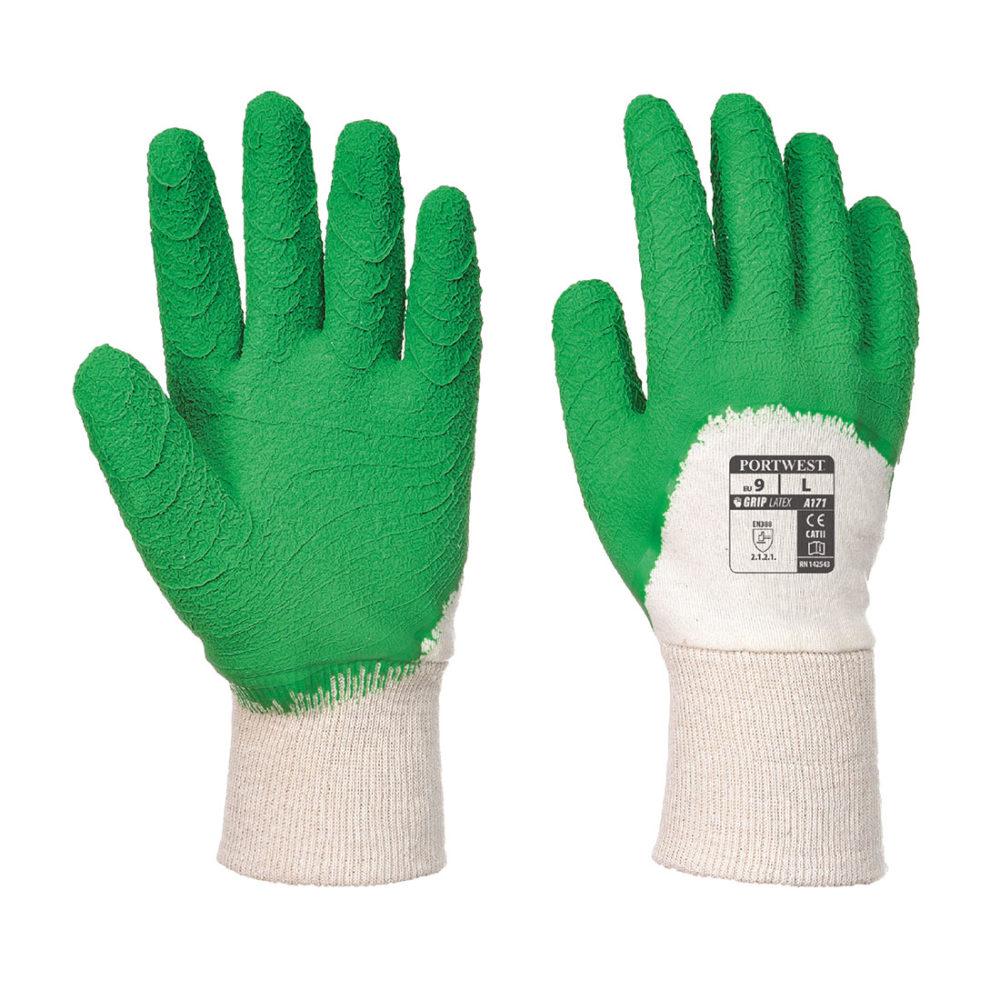 A171 – Guante Crinkle, de látex con dorso aireado  Blanco/Verde