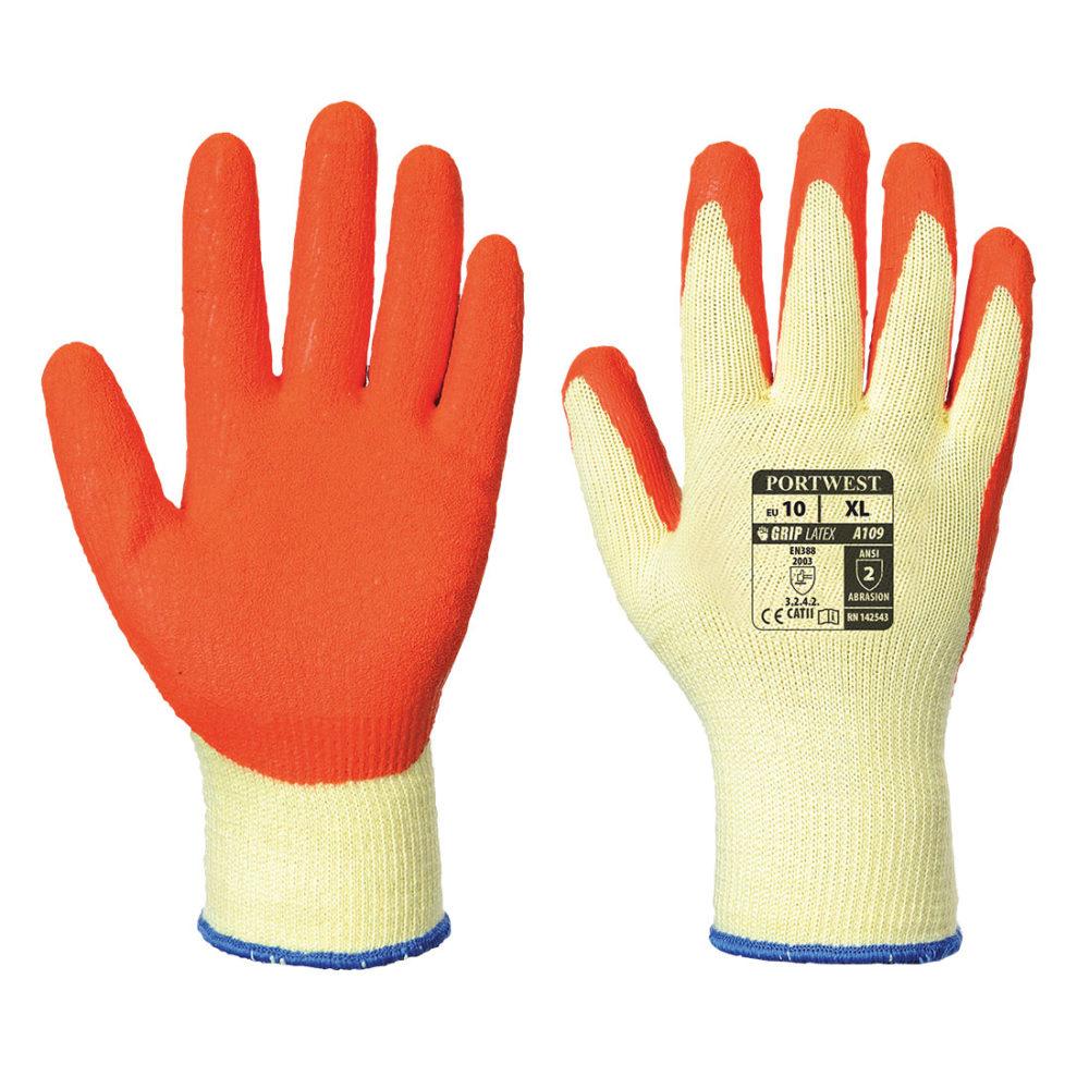 A109 – Guante Grip (en bolsa expositora)  Naranja