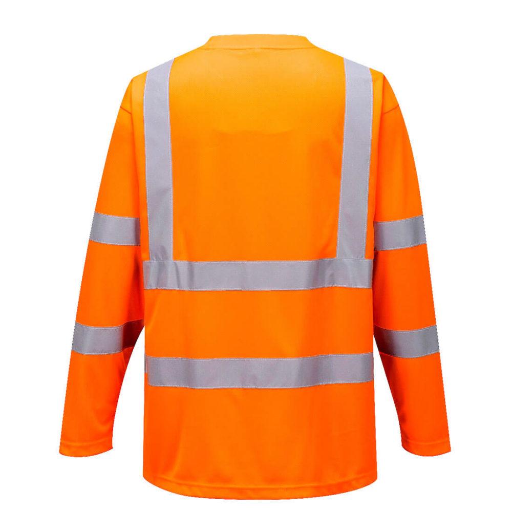 Camiseta de manga larga de alta visibilidad con bolsillo