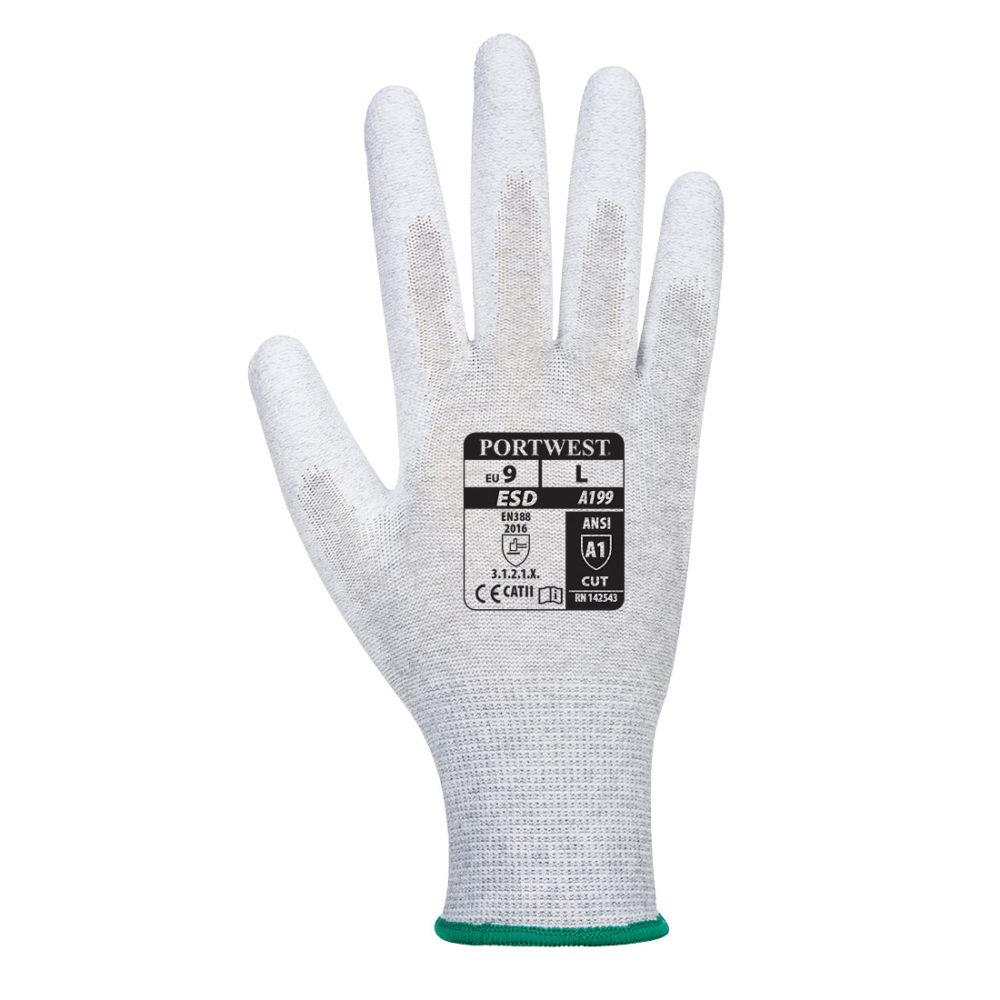 A199 – Guante antiestático con la palma cubierta con PU  Gris
