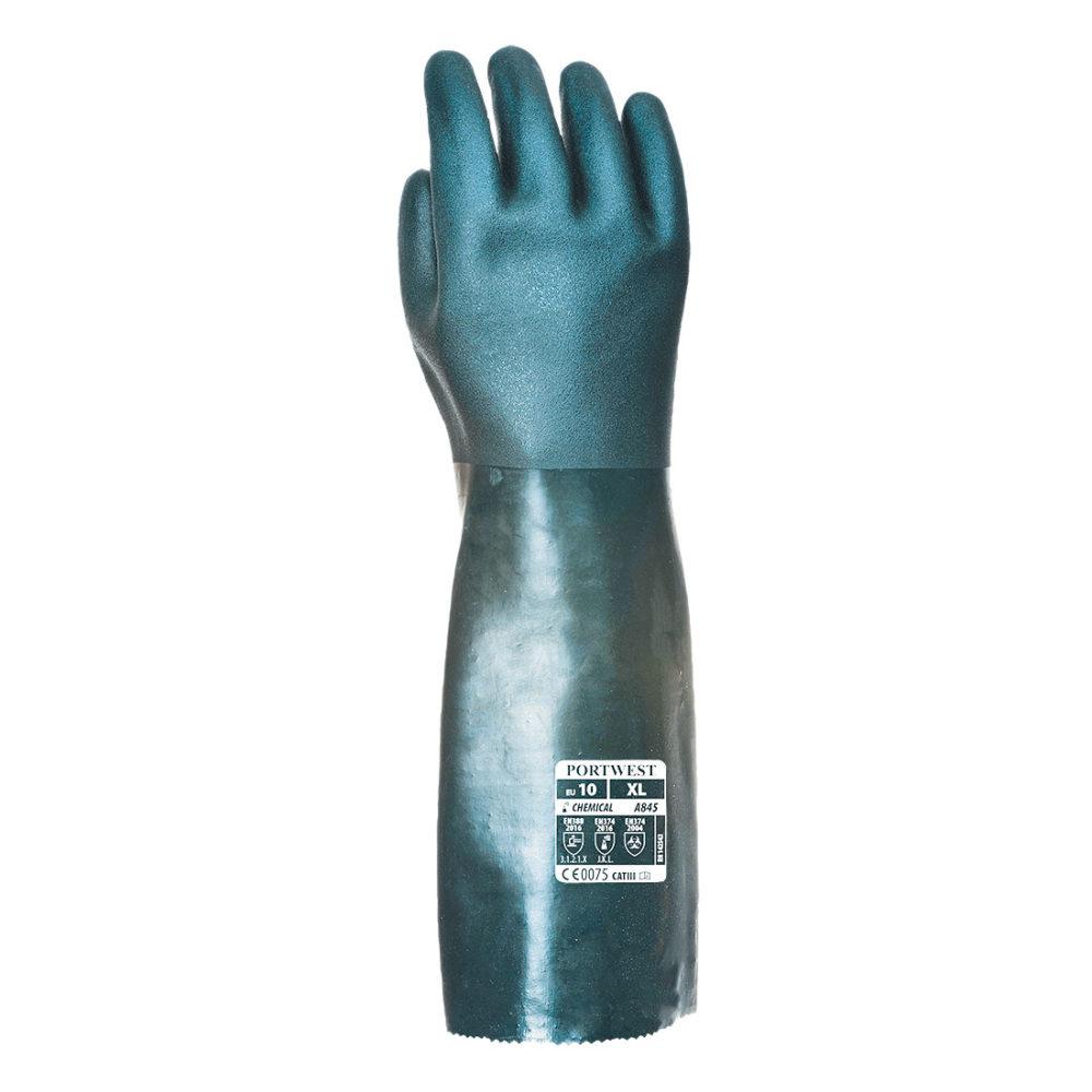 A845 – Guante de PVC de doble inmersión, 45cm Verde