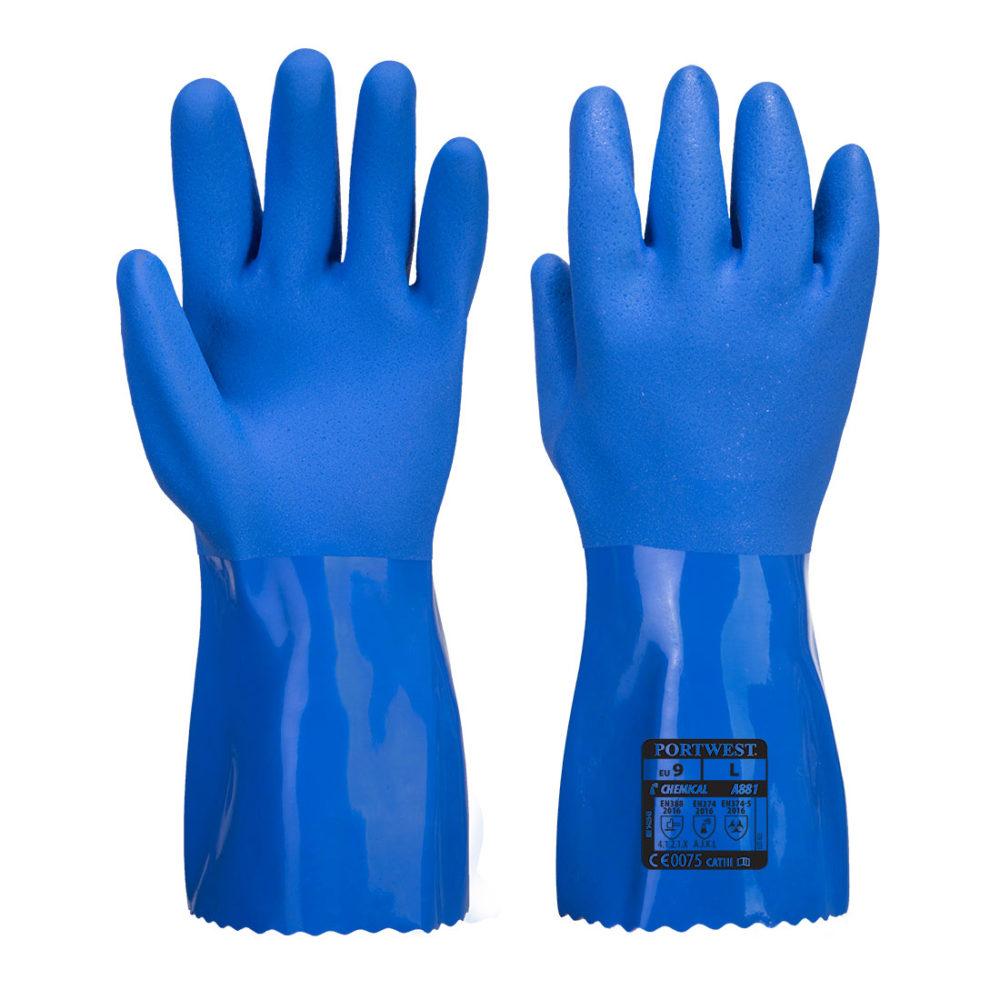A881 – Guante químico de PVC Marine Ultra  Azul