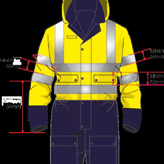 medidas obligatorias para las bandas reflectantes - Normativa EN 20471 Sobre ropa laboral de alta visibilidad