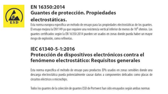 normativas guantes de proteccion propiedades electrostaticas - Normativas sobre los guantes de seguridad