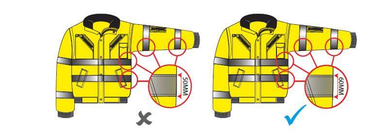 ropa laboral de alta visibilidad de tallas pequenas con 60mm de banda retro reflectante - Normativa EN 20471 Sobre ropa laboral de alta visibilidad
