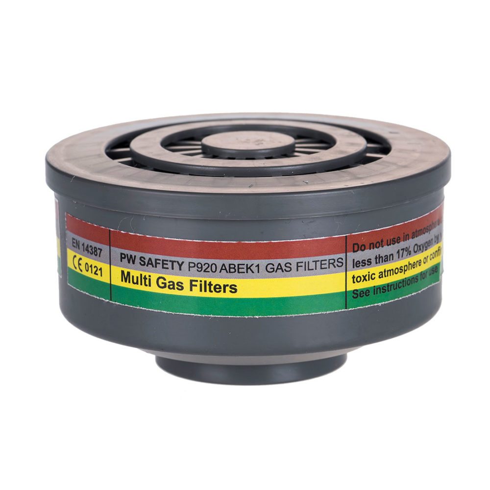 P920 – Filtro de gases ABEK1 con conexión de rosca especial  Gris