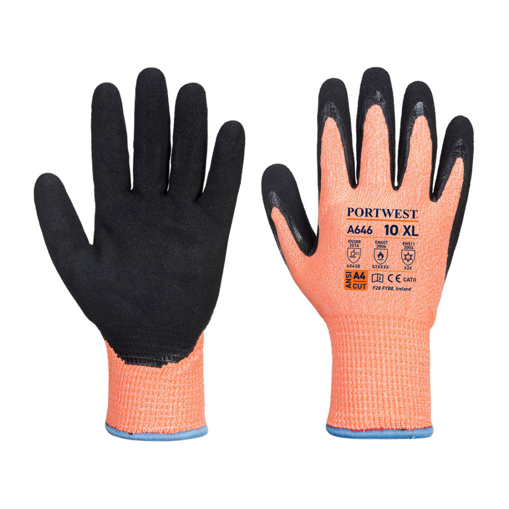 A646 – Guante de Nitrilo anti-corte para invierno Vis-Tex Winter HR  Naranja/Negro