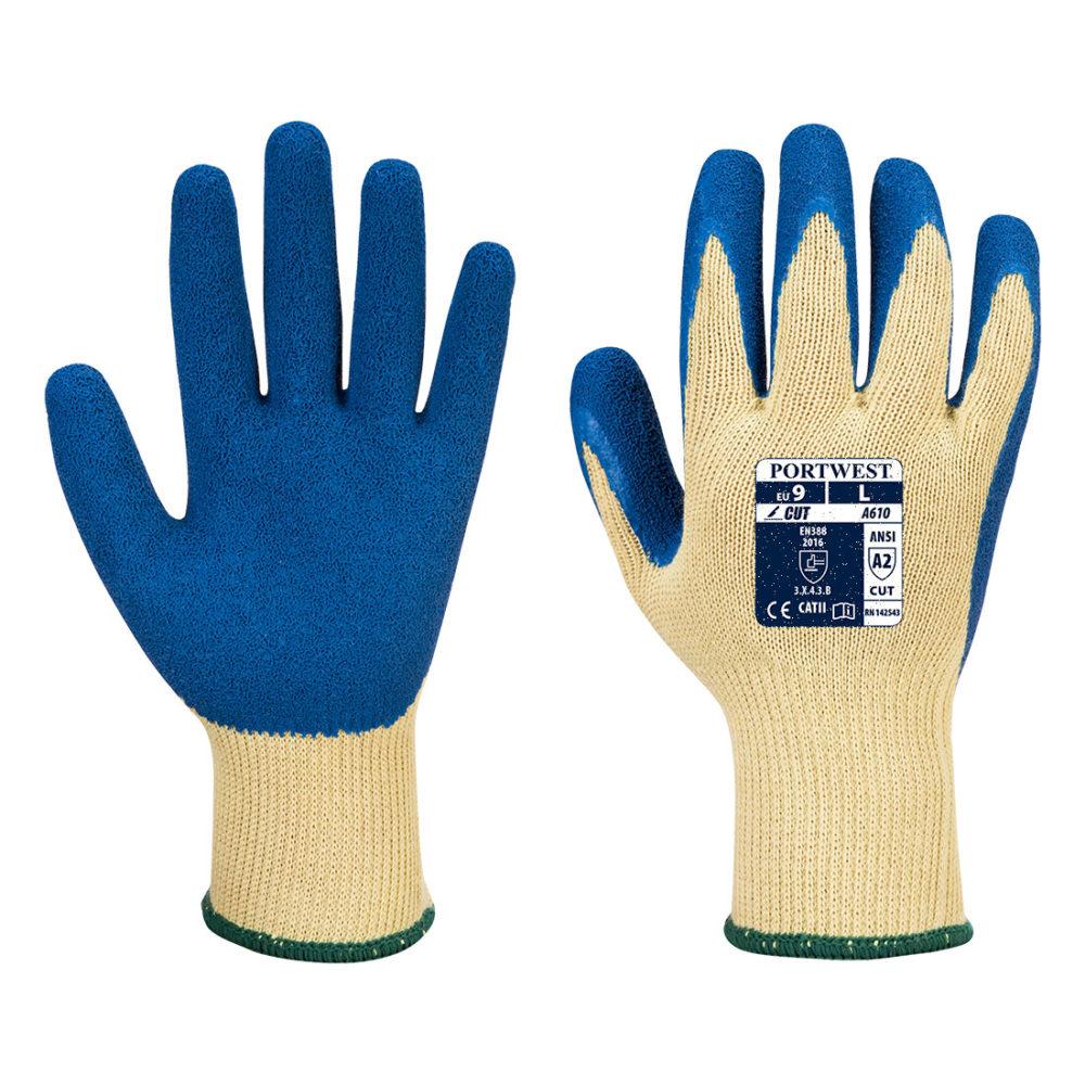 A610 – Guante Grip de látex, nivel 3 al corte  Amarillo/Azul