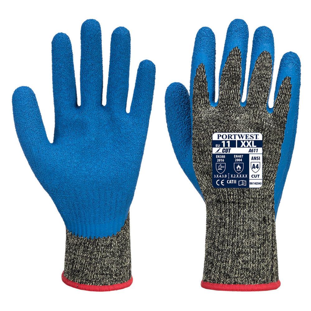 1 5 1000x1000 - A611 - Guante látex anti-corte Aramid HR  Negro/Azul