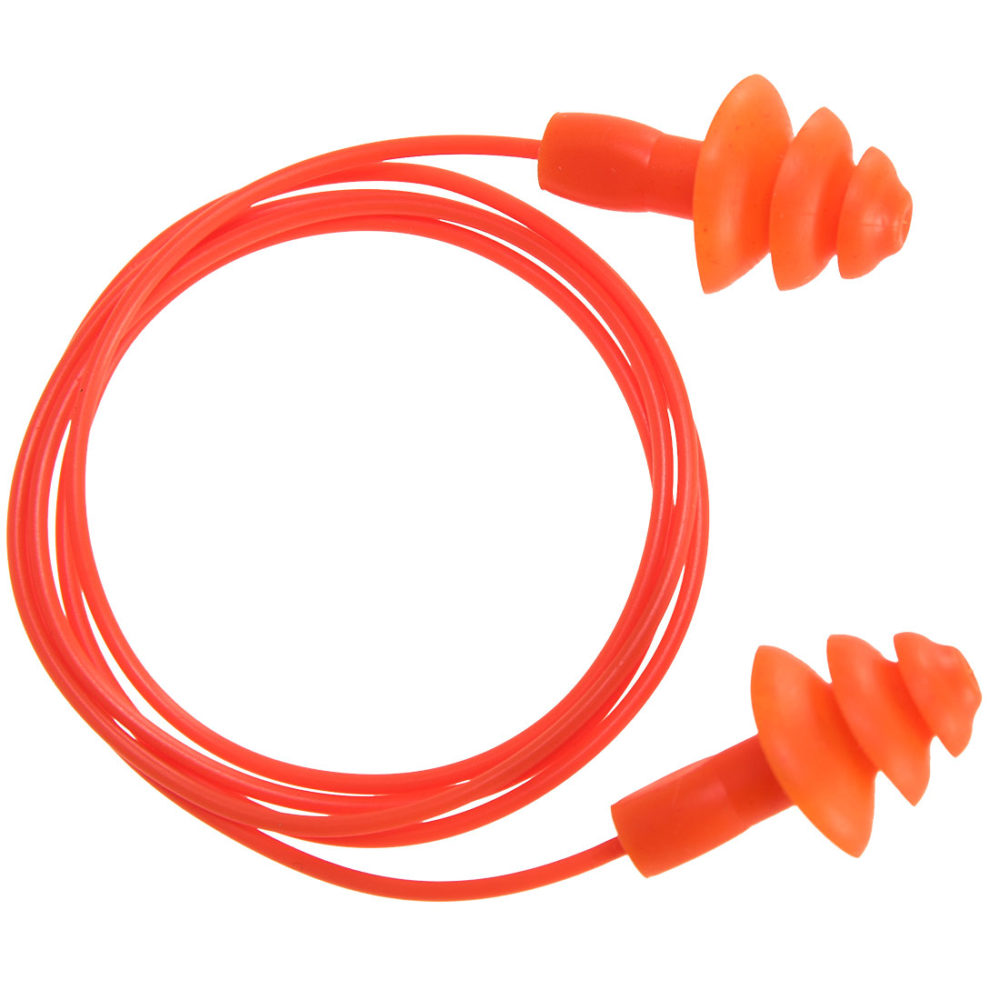 EP04 – Tapones reutilizables de TPR, con cordel (50 pares)  Naranja