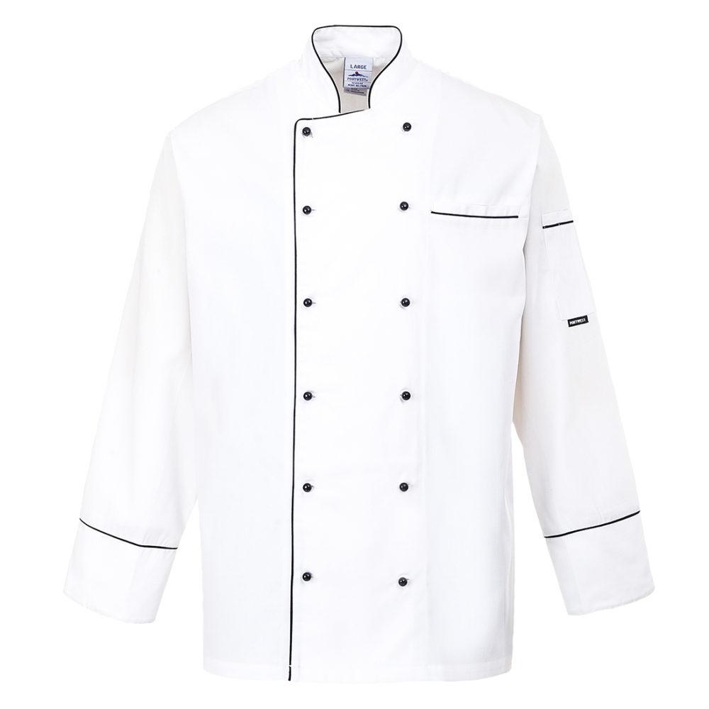 C775 – Chaqueta de chef Cambridge  Blanco